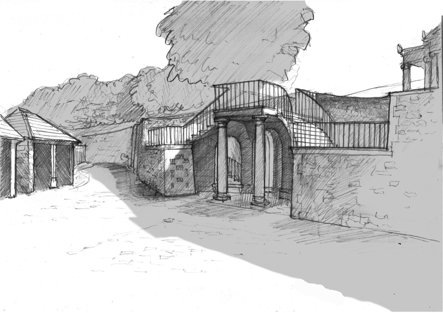 SK658-12 07-05-015 Eastbach court Proposed Courtyard steps sketc